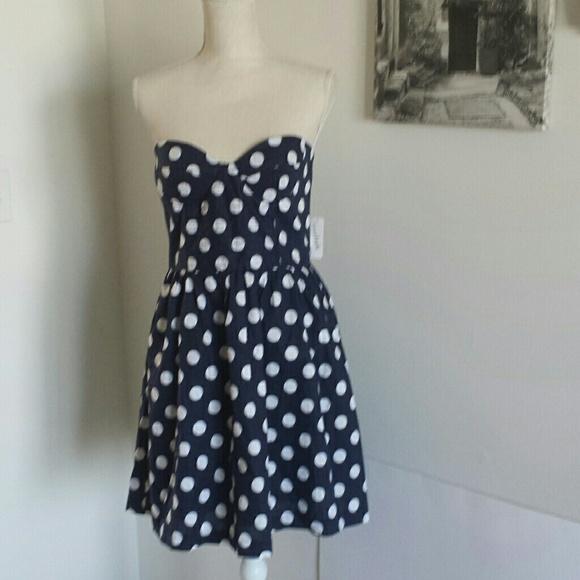 7b48c6dddb20 Charming Charlie Dresses   Nwt Strapless Polka Dot Dress   Poshmark
